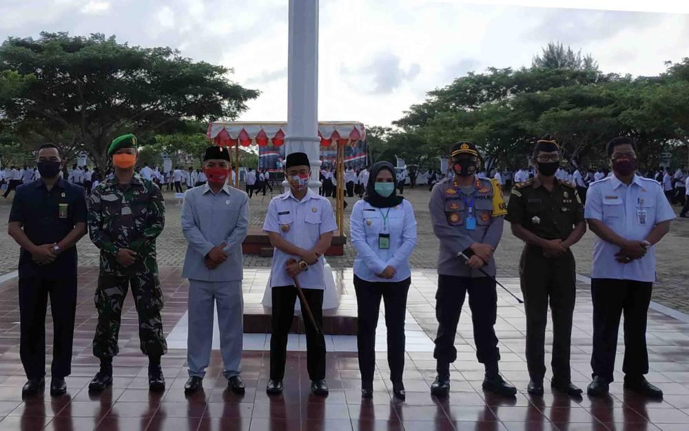 Unsur FKPD foto bersama usai peringatan HUT ke 18 Kabupaten Seruyan, Rabu, 5 Agustus 2020.
