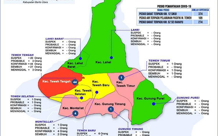 Grafis sebaran kasus covid-19 di Kabupaten Barito Utara, Jumat, 7 Agustus 2020.