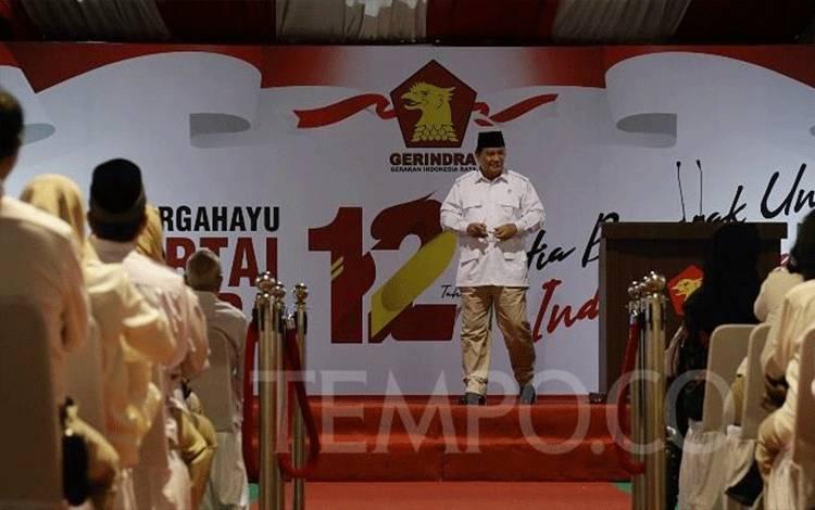 Ketua Umum Partai Gerindra Prabowo Subianto menyampaikan pidato politiknya dalam peringatan HUT ke-12 Partai Gerindra di kantor DPP Partai Gerindra, Jakarta, Kamis, 6 Februari 2020. TEMPO/M Taufan Rengganis