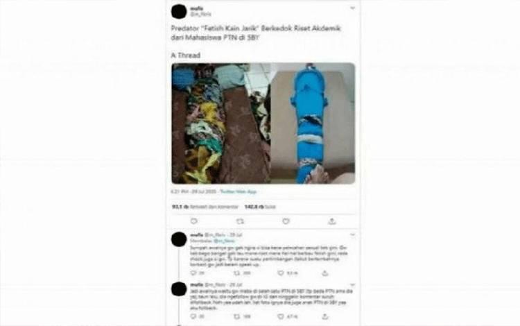 Tangkapan layar sebuah utas pemilik akun Twitter @m_fikris tentang fetish kain jarik berkedok riset. Universitas Airlangga akhirnya mengeluarkan mahasiswa yang diduga memiliki hasrat seksual menyimpang itu. (Twitter/@m_fikris/NA)