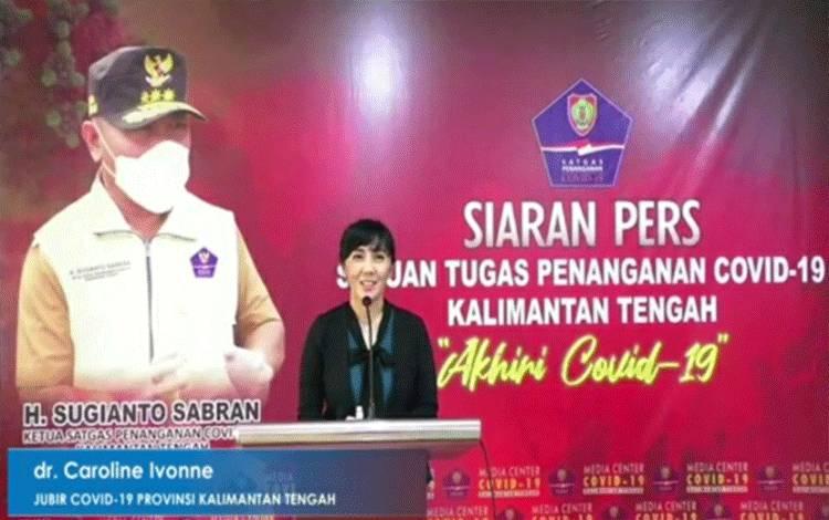 Juru bicara Covid-19 Provinsi Kalimantan Tengah Caroline Ivonne menyampaikan data terbaru perkembangan kasus Covid-19.