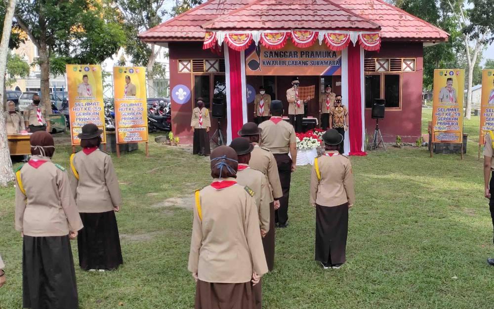 Upacara peringatan HUT ke 56 Pramuka di Sukamara, Jumat, 14 Agustus 2020.