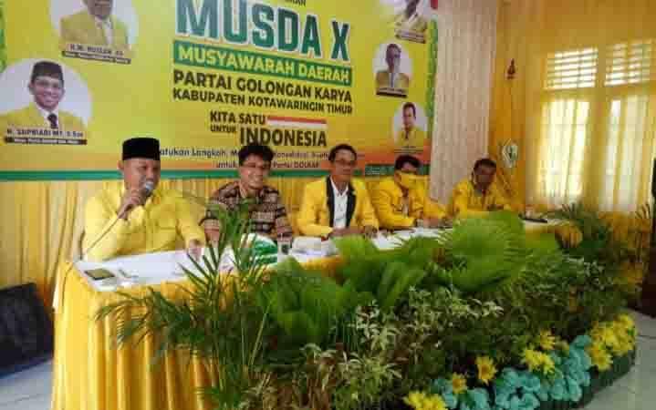 Musda X Partai Golkar Kabupaten Kotawaringin Timur, Senin, 17 Agustus 2020, diputuskan ditunda hingga selesainya pelaksanaan pilkada.