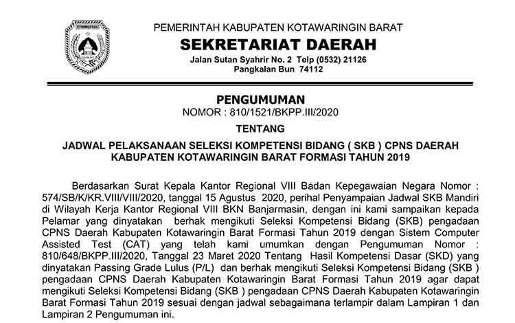 Jadwal Tes SKB CPNS 2019 di Kotawaringin Barat.