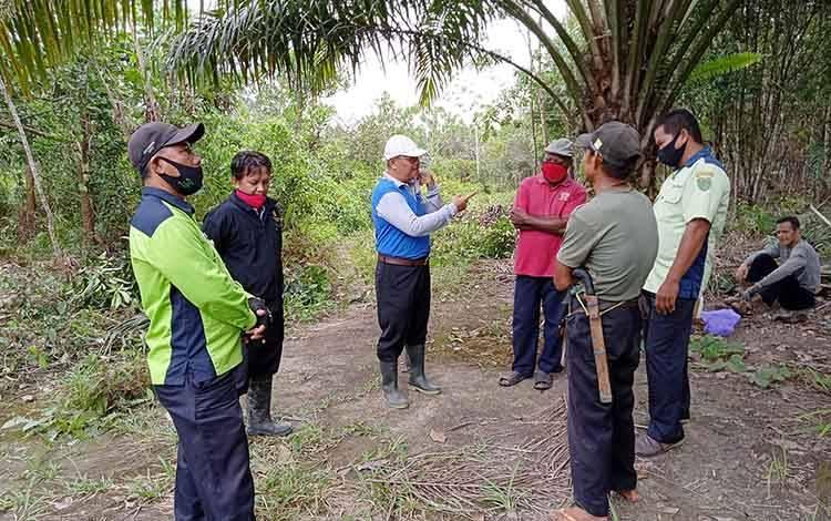 Kepala Dinas Pertanian Kabupaten Barito Timur, Riza Rahmadi saat meninjau pembukaan lahan di Desa Kupang Baru