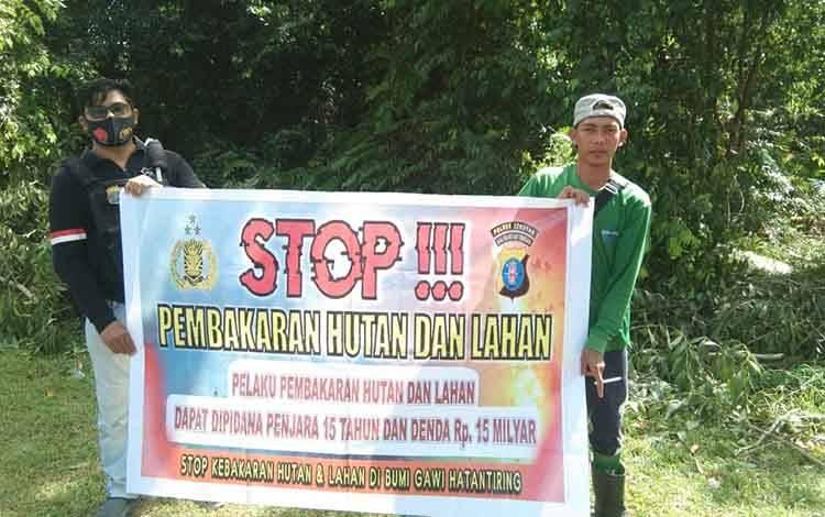 Personel Polsek Seruyan Hilir sambangi warga berikan edukasi pencegahan Karhutla