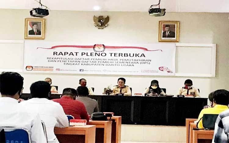 Ketua KPU Barito Utara, Malik Mulyawan memimpin rapat pleno terbuka rekapitulasi Daftar Pemilih Hasil Pemutakhiran (DPHP) dan Penetapan Daftar Pemilih Sementara (DPS) dalam Pilgub Kalteng 2020