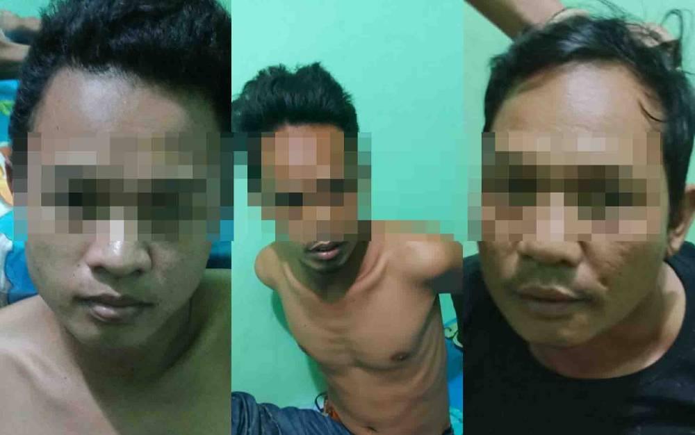 Tiga tersangka pencurian yang diamankan Polres Barito Utara.