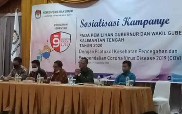 Pelaksanaan sosialisasi aturan kampanye Pilgub Kalteng 2020 oleh KPU Kobar, Kamis, 24 September 2020.