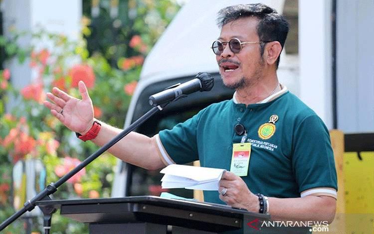 Menteri Pertanian Syahrul Yasi Limpo saat memberi sambutan dalam Peringatan Hari Tani Nasional di Kantor Pusat Kementan Jakarta, Kamis (24/9/2020). ANTARA/Kementerian Pertanian/pri.