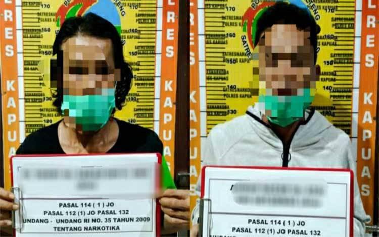 Terduga pelaku kasus sabu saat diamankan Satresnarkoba Polres Kapuas