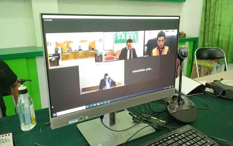 Galiansyah terdakwa kasus sabu saat sidang online