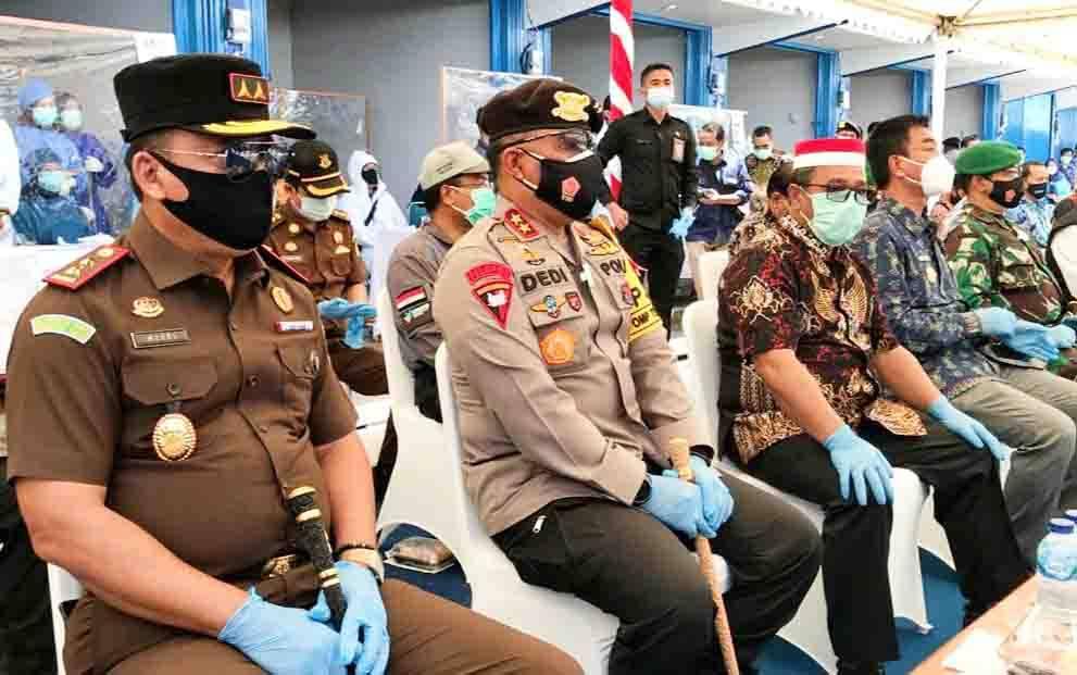FKPD Kalteng menghadiri rapid test massal di Muara Teweh, Barito Utara, Kamis, 1 Oktober 2020.