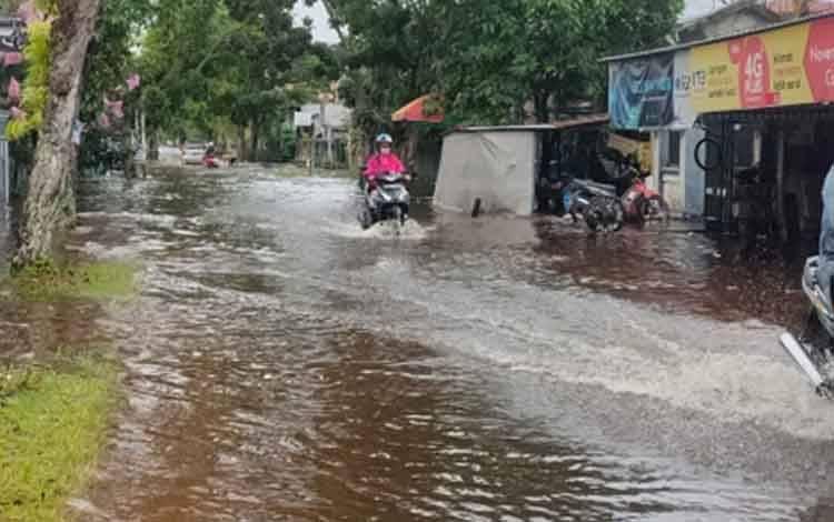 Permukiman warga di Kota Sampit tergenang air hujan