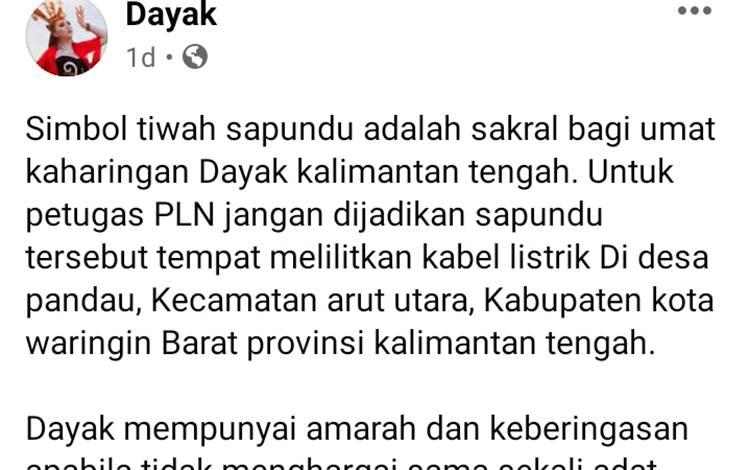 Postingan di fan page Dayak pada nedia sosial Facebook yang menuai reaksi akibat adanya kabel yang melilit leher Sapundu