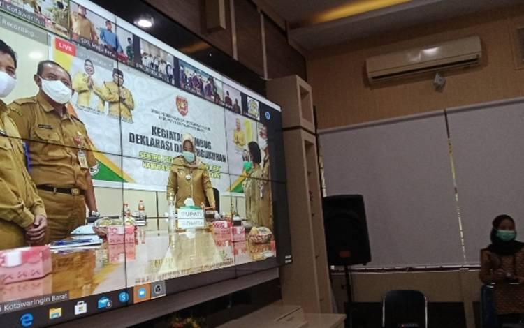 Kegiatan virtual meeting dan pengukuhan 4 SPR di Kabupaten Kotawaringin Barat, Senin, 19 Oktober 2020.