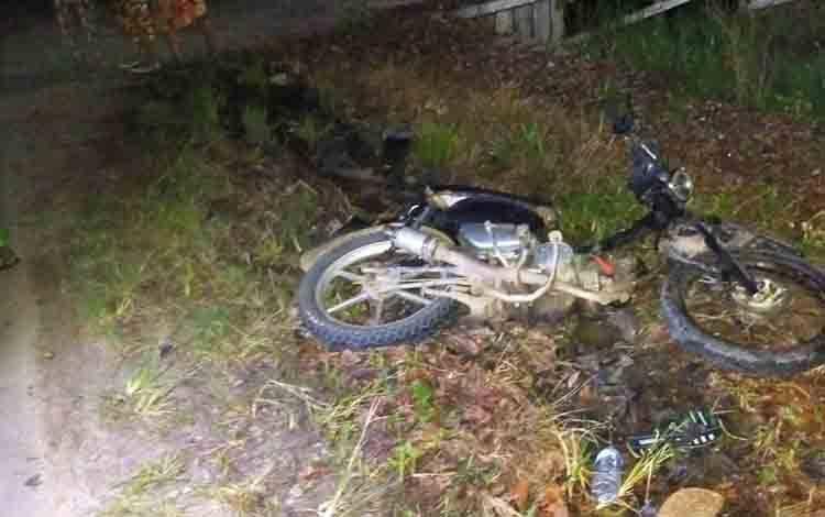 Kondisi motor yang menabrak seorang pejalan kaki hingga tewas.