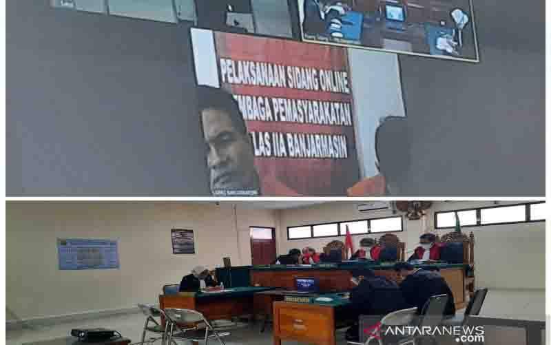 Sidang putusan perkara 32 kilogram narkotika digelar secara daring di Pengadilan Negeri Banjarmasin, Kalimantan Selatan, Senin sore, 26 Oktober 2020. (foto : ANTARA/Firman)