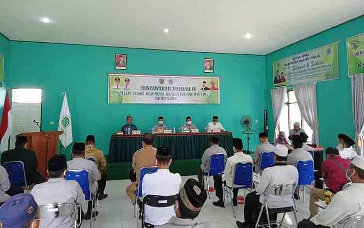 Suasana musyawarah daerah atau Musda IV MUI Barito Timur di aula Kantor Kementerian Agama setempat, Selasa, 27 Oktober 2020.