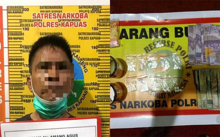 Terduga pelaku pengedar obat tanpa izin dan barang bukti saat diamankan Satresnarkoba Polres Kapuas