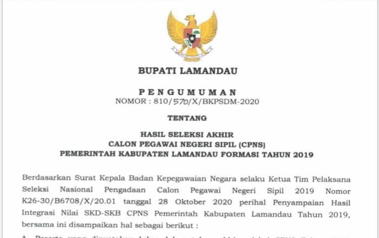 PENGUMUMAN: Hasil Akhir Seleksi CPNS Pemerintah Kabupaten Lamandau Formasi Tahun 2019
