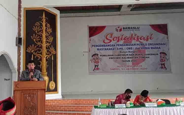 Sosialisasi pengembangan pengawasan pemilu yang digelar Bawaslu Barito Selatan, Sabtu, 31 Oktober 2020.