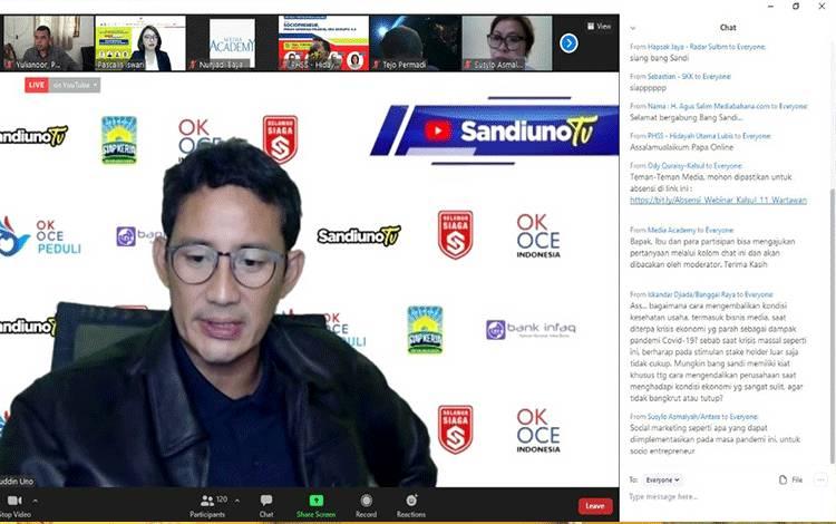 Sandiaga Uno saat menjadi nara sumber pada kegiatan Webinar Sociopreneur dengan tema peran generasi milenial era disrupsi 4.0 Kalimantan Sulawesi series #7 yang diadakan oleh SKK Migas - KKKS Kalimantan dan Sulawesi, Rabu 11 November 2020.