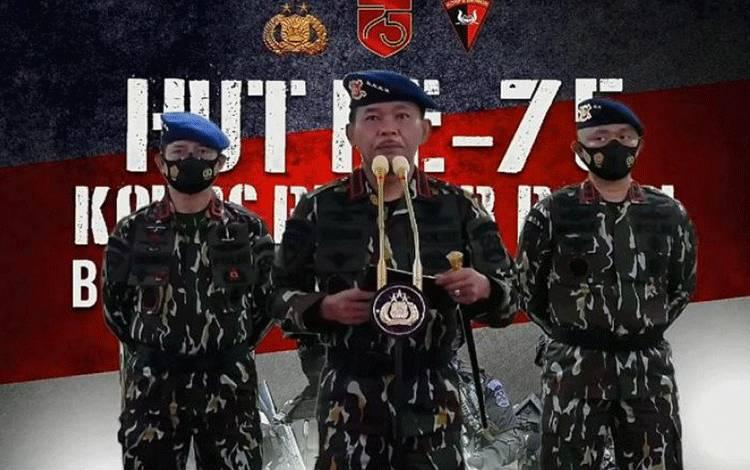 Kepala Kepolisian Indonesia, Jenderal Polisi Idham Azis (tengah), saat membuka acara peringatan Hari Ulang Tahun ke-75 Korps Brimob Kepolisian secara virtual, Jakarta, Sabtu (14/11/2020). ANTARA/HO-Kepolisian Indonesia