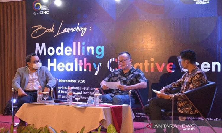 "Acara peluncuran buku berjudul ""Modelling a Healthy Creative Scene"" oleh Kemenparekraf bekerja sama dengan Kementerian Luar Negeri dan School of Business Management Institut Teknologi Bandung (SBM ITB). ANTARA/HO-Birkom Kemenparekraf"