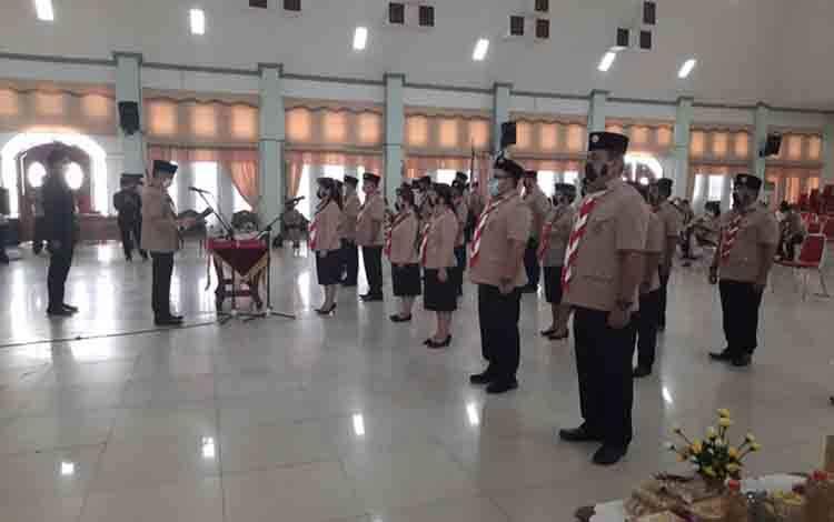 Suasana pelantikan pengurus Kwarcab Gerakan Pramuka Gumas masa bakti 2020-2025 di GPU Damang Batu, Rabu, 25 November 2020.