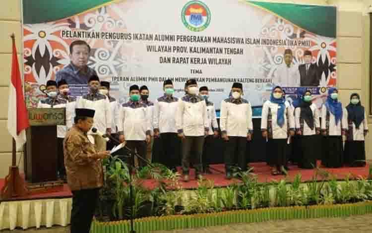 Suasana pelantikan pengurus IKA PMII Kalteng periode 2019-2024 di Palangka Raya.
