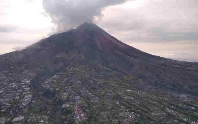 Foto udara kondisi puncak Gunung Merapi. (foto : ANTARA/HO-BNPB)