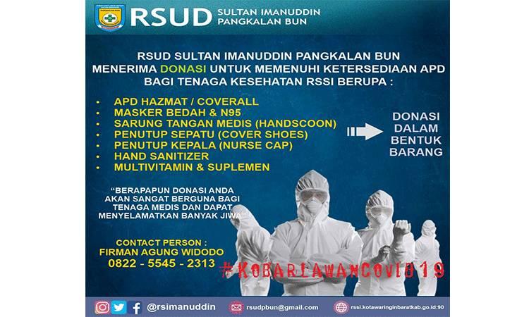 RSUD Sultan Imanuddin Pangkalan Bun menerima donasi untuk  memenuhi ketersediaan APD bagi tenaga kesehatan.