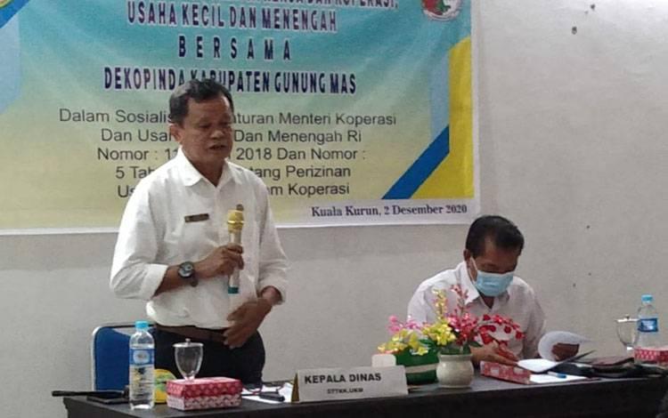 Suasana sosialisasi Permenkop dan UKM di Kuala Kurun, Rabu, 2 Desember 2020.