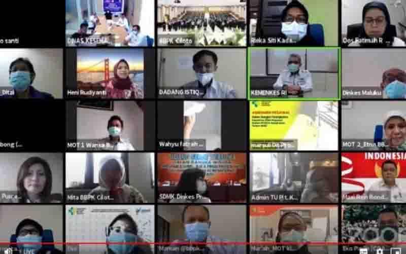 Acara pelepasan peserta Nusantara Sehat yang digelar secara daring. (foto : HO/Kementerian Kesehatan)