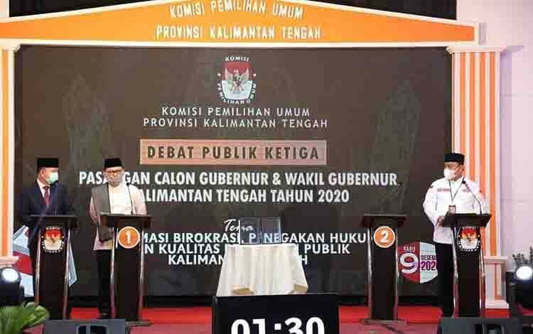 Kedua Paslon Cagub dan Cawagub Kalteng saat beradu argumen pada debat terakhir yang dilaksanakan, Rabu malam 2 Desember 2020