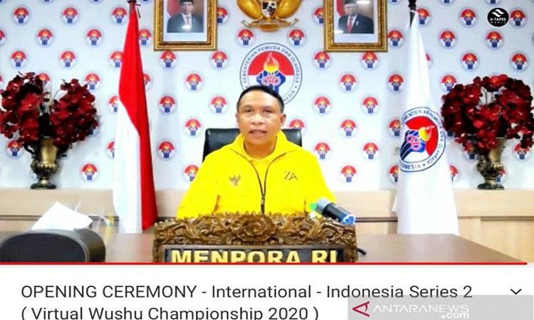 Menteri Pemuda dan Olahraga Zainudin Amali saat membuka acara Internasional Virtual Wushu Championship seri kedua dari Kantor Kemenpora, Jakarta, Rabu (2/12/2020). (ANTARA/HO/Humas Kemenpora)