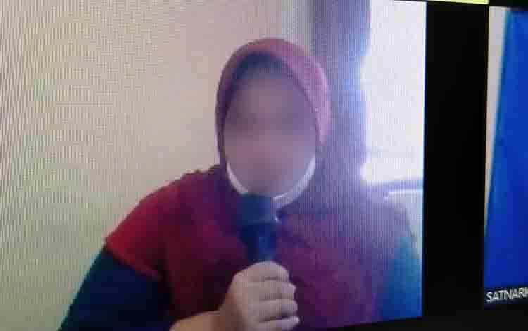 Terdakwa kasus sabu, Kasum, saat menjalani persidangan secara virtual.