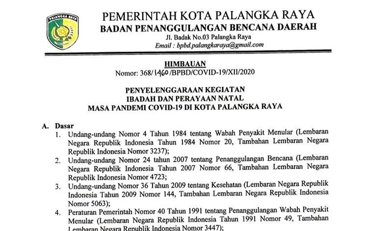 Surat edaran imbauan Satgas Covid-19 Palangka Raya tentang penyelenggaraan kegiatan natal pada masa pandemi.