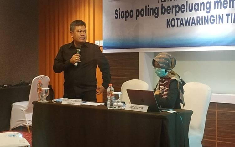Direktur Lingkaran Survei Kebijakan Publik (LSKP), salah satu sister company dari Lingkaran Survei Indonesia (LSI- Denny JA) Sunarto Ciptoharjono, saat menyampaikan hasil survei pihaknya, Jumat, 04 Desember 2020.