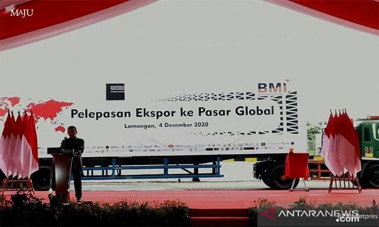 Menteri Perdagangan Agus Suparmanto dalam Pelepasan Ekspor ke Pasar Global Tahun 2020 yang dilakukan secara virtual, Jumat. (ANTARA/Mentari Dwi Gayati)