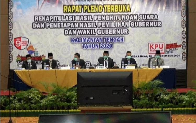 Rapat pleno terbuka rekapitulasi hasil perhitungan suara sekaligus penetapan hasil pemilihan dalam Pilkada Kalteng 2020, Jumat, 18 Desember 2020.