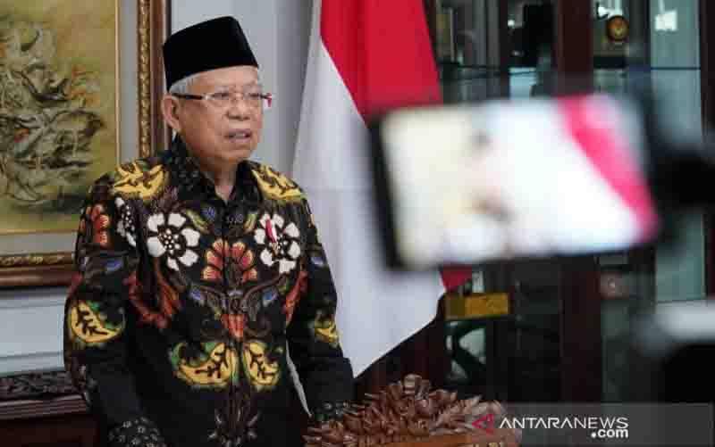 Wakil Presiden Ma'ruf Amin meutup rangkaian Muktamar IX Partai Persatuan Pembangunan (PPP) secara virtual dari rumah dinas wapres di Jakarta, Minggu (20/12/2020). (foto : ANTARA/Asdep Komunikasi dan Informasi Publik (KIP) Setwapres)