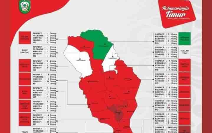 Peta penyebaran kasus Covid-19 di Kotim