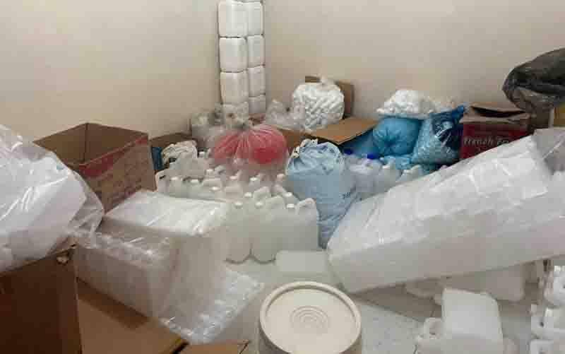 Barang bukti yang ditemukan polisi di tempat produksi kosmetika/produk kecantikan ilegal di Jalan Bandengan Selt RT 001/002 Kelurahan Penjagalan, Kecamatan Penjaringan, Jakarta Utara. (foto : ANTARA/ HO-Polri)