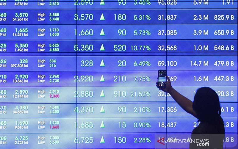 Seorang calon investor merekam dengan telepon seleluarnya data pada layar Indeks Harga Saham Gabungan (IHSG), di Bursa Efek Indonesia, Jakarta, Jumat (8/1/2021). (foto : ANTARA FOTO/ Reno Esnir/foc/aa)
