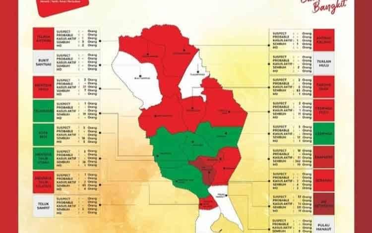 Peta zona Covid-19 di Kabupaten Kotawaringin Timur.