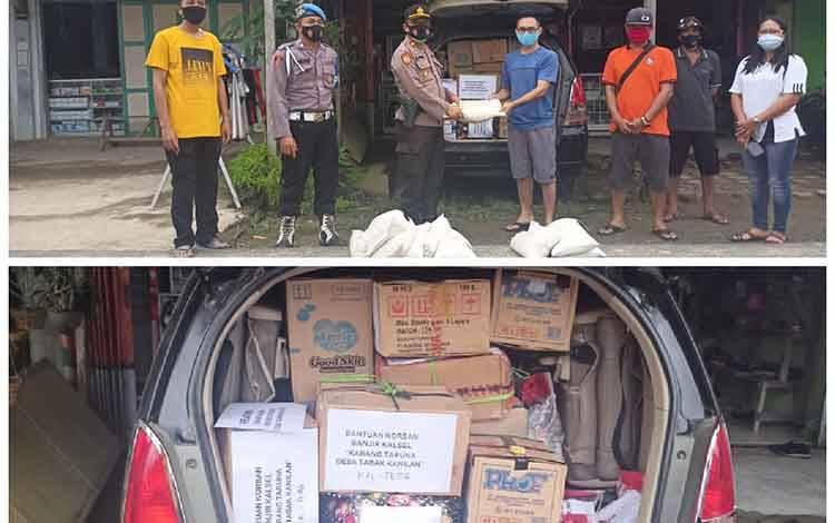 Kapolsek Gunung Bintang Awai, IPTU Rahmat Simamora menyerahkan bantuan korban banjir bersama karang taruna desa tabak kanilan