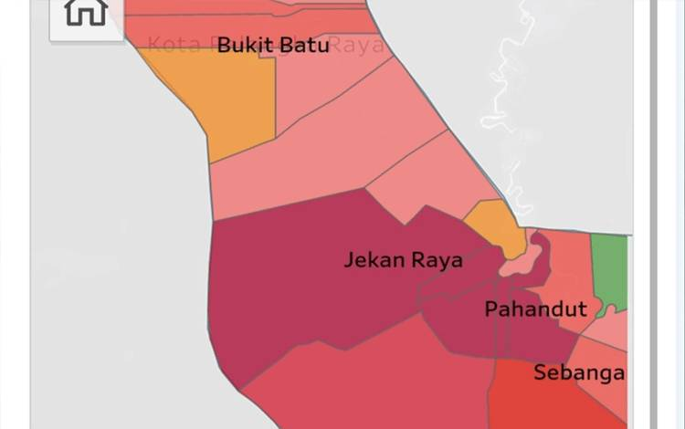 Peta sebaran kasus positif Covid-19 di Palangka Raya