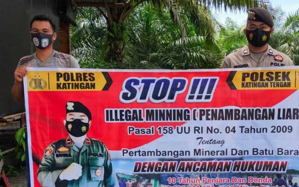 Sosialisasi pencegahan illegal mining yang dilakukan Polsek Katingan Tengah, Minggu, 24 Januari 2021.